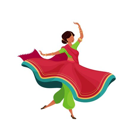 Woman in flowing sari flat color vector faceless character. Dynamic dancing pose. Indian female performer. Teej festival celebration isolated cartoon illustration for web graphic design and animation Illustration