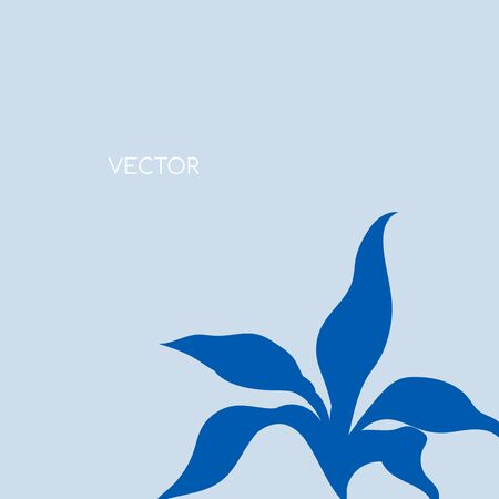 Wild shrub flat color vector background. Blue subtropical bush on pastel backdrop. Floral leaves. Tropical summer vacation social media post mockup. Exotic resort web banner template