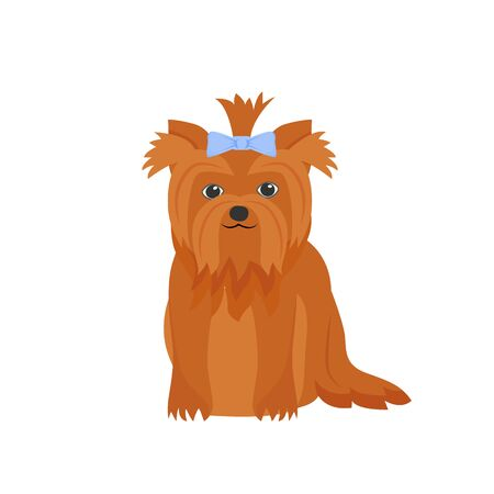 Ginger terrier flat color vector character. Pampered domestic animal with bow. Pet sitting and daycare. Dog beauty salon. Cute puppy isolated cartoon illustration for web graphic design and animation