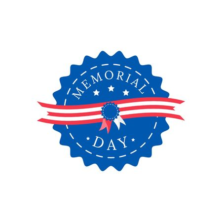 Memorial Day flat color vector badge. Stripes and stars on navy background. National american holiday sticker. US freedom celebration patch. War hero honor ceremony isolated design element