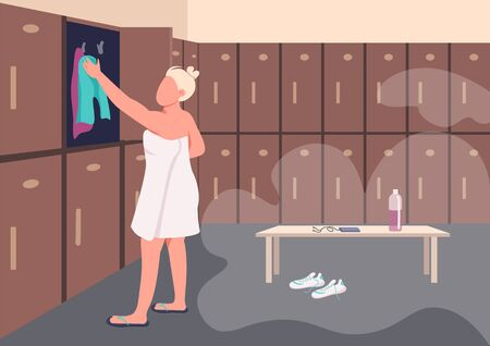 Shower after training flat color vector illustration. Young woman in towel 2D cartoon character with gym locker room on background. Sportswoman changing clothes. Personal belongings safekeep