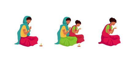Puja ritual flat color vector faceless characters set. Traditional indian religious ceremony. Woman in saree light candle. Teej festival prayer isolated cartoon illustrations on white background
