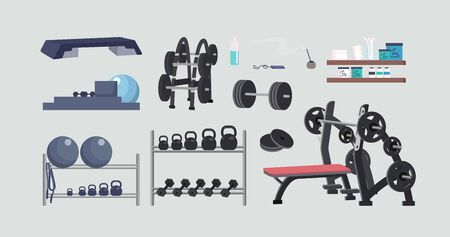 Gym equipment flat color vector objects set. Bodybuilding, aerobics and yoga accessories. Fitness center gear 2D isolated cartoon illustrations on gray background. Weights, swiss ball and refreshments