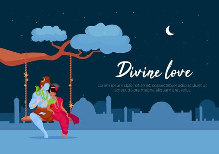 Divine love poster flat vector template. Pray to Shiva and Parvati for blessing. Indian tradition. Brochure, booklet one page concept design with cartoon characters. Teej festival flyer, leaflet