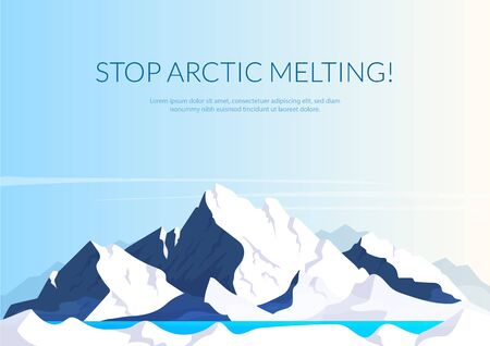 Stop arctic melting banner flat vector template. Brochure, poster concept design with cartoon lllustration. Global warming warning horizontal flyer, leaflet with place for text Illustration
