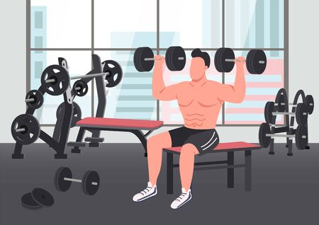 Bodybuilding exercise flat color vector illustration. Strong sportsman lifting dumbbells 2D cartoon character with gym on background. Weightlifting training, exercising in fitness center