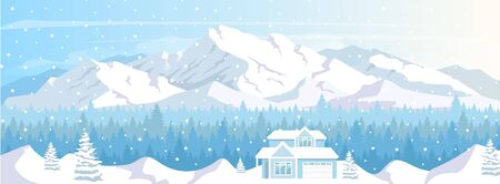 Ski resort house flat color vector illustration. Winter vacation. Lodge in snow mountains landscape. 2D cartoon characters with snowy peaks and coniferous forest on background Иллюстрация
