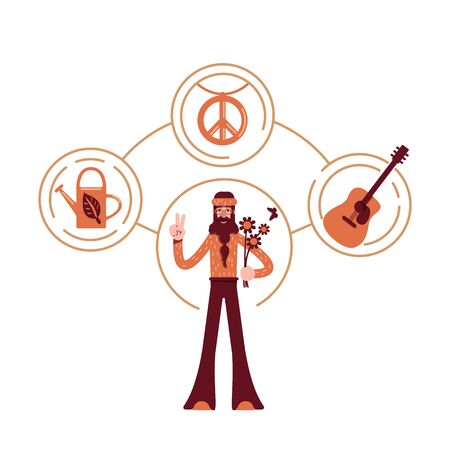 Innocent archetype flat concept vector illustration. Pacifist in vintage clothes 2D cartoon character for web design. Hippie with flowers and peace symbol. Idealist personality type creative idea