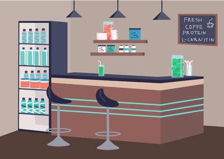 Empty fitness bar flat color vector illustration. Healthy drinks establishment 2D cartoon interior with counter on background. Recreational place for sports people. Fresh coffee and protein cocktails