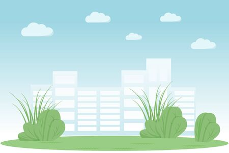Urban park flat color vector illustration. Garden in city. Summer recreation meadow spot. Skyscraper buildings on horizon. Green lawn 2D cartoon landscape with cityscape on background