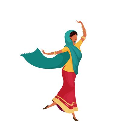 Dancing indian female flat color vector faceless character. Woman in saree dance. Traditional Nepal ritual. Diwali celebration isolated cartoon illustration for web graphic design and animation