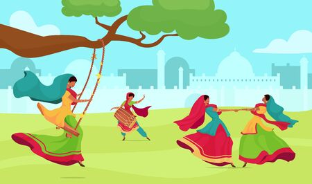 Teej festival flat color vector illustration. Woman dance and sing. Traditional religious ceremony. Female in sari on swing on field. Indian woman 2D cartoon characters with cityscape on background Ilustração