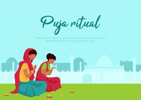 Puja ritual poster flat vector template. Two indian woman light candle. Pray during ritual. Brochure, booklet one page concept design with cartoon characters. Teej festival flyer, leaflet Illustration