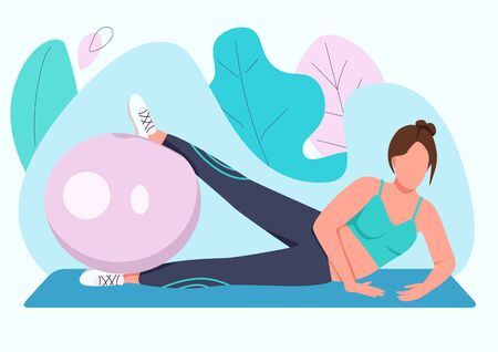 Woman training with stability ball flat color vector faceless character. Fitness instructor, sportswoman working out with swiss ball isolated cartoon illustration for web graphic design and animation
