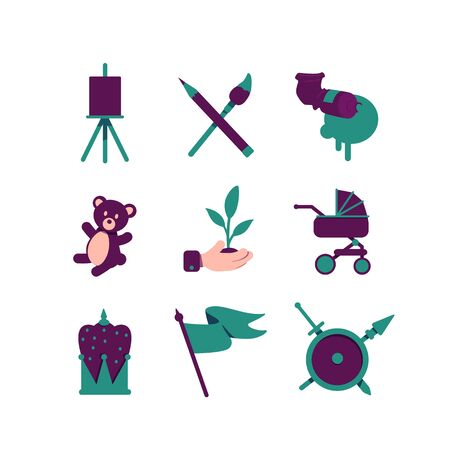 Artistic hobby flat color vector objects set. Medieval flag, shield with weapon and crown symbols. Baby stuffed toy and carriage. 2D isolated cartoon illustrations on white background Çizim