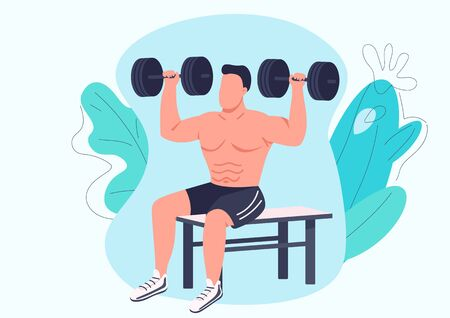Man working out with dumbbells flat color vector faceless character. Weightlifter, bodybuilder training isolated cartoon illustration for web graphic design and animation. Weight lifting exercise