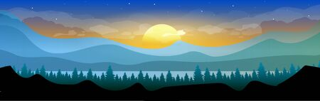 Sunrise in woodland flat color vector illustration. Coniferous forest in early morning. Mountains skyline. Wild nature. Fir trees and hills 2D cartoon landscape with sun and sky on background