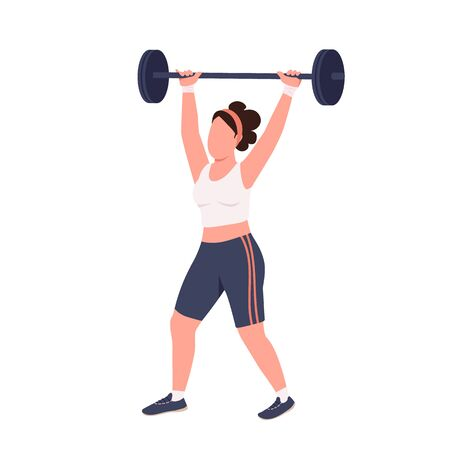 Sportswoman lifting barbell flat color vector faceless character. Amateur weightlifter workout isolated cartoon illustration for web graphic design and animation. Domestic bodybuilding exercise Ilustrace