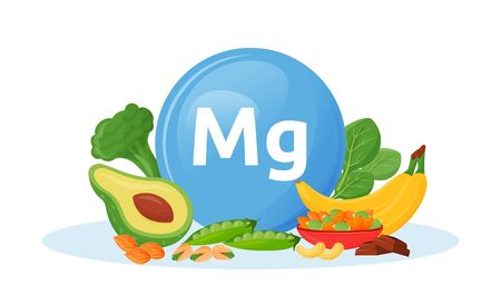 Products containing magnesium cartoon vector illustration. Mg in broccoli and spinach veggies. Bananas and nuts healthy food flat color object. Healthy vegetarian food isolated on white background