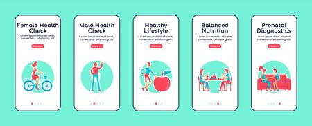 Female and male health check onboarding mobile app screen flat vector template. Walkthrough website steps with isolated characters on white. UX, UI, GUI smartphone cartoon interface