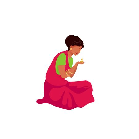 Indian woman light candle flat color vector faceless character. Religious ceremony. Woman perform puja ritual. Teej festival isolated cartoon illustration for web graphic design and animation Illustration
