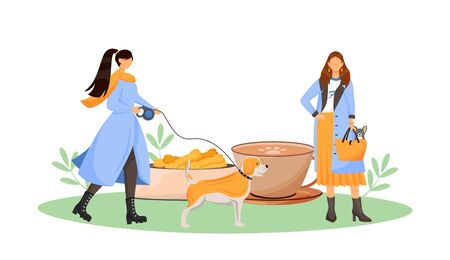 Female dog owner in cafe flat concept vector illustration. Pet friendly coffee shop and restaurant. Woman with terrier in bag 2D cartoon characters for web design. Pet care creative idea Vector Illustration