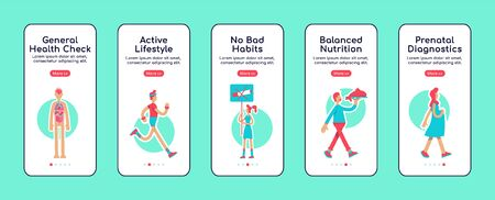 General health care onboarding mobile app screen flat vector template. Avoid bad habit. Walkthrough website steps with isolated characters on white. UX, UI, GUI smartphone cartoon interface Illustration