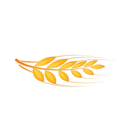Wheat ear cartoon vector illustration. Barley, rye flat color object. Basis for baking. Source of vitamins B and fiber. Good nutrition. Dried whole grains isolated on white background