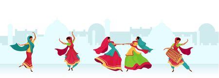Diwali celebration flat color vector illustration. Nepal woman dance together. Teej festival ritual. Indian woman in traditional saree 2D cartoon characters with landscape on background