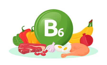 Vitamin B6 food sources cartoon vector illustration. Bell pepper, bananas, meat healthy products. Eggs, garlic, pomegranate flat color object. Good nutrition isolated on white background
