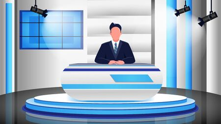 News program flat color vector illustration. Male newscaster, newsreader, anchorman 2D cartoon character with studio on background. Professional news presenter in spotlights. Television broadcast