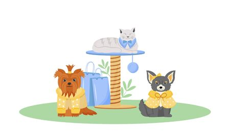 Pet fashion flat color vector character. Cute dog and cat wear clothes. Products to pumper domestic animal. Pet shop isolated cartoon illustration for web graphic design and animation