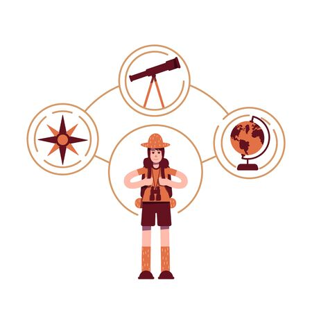 Explorer archetype flat concept vector illustration. Young boy scout 2D cartoon character for web design. Backpacking travel. Scientific expedition. Adventurer personality type creative idea