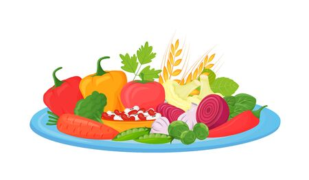 Raw vegetables, beans and cereals cartoon vector illustration. Foods rich in fiber, vitamins and minerals flat color object. Vegan, vegetarian products. Healthy diet isolated on white background Stock Illustratie