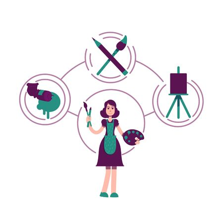 Creator archetype flat concept vector illustration. Female painter 2D cartoon character for web design. Artistic hobby. Girl with oil paint, brushes and easel. Artist personality type creative idea Vectores