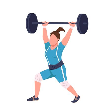 Female powerlifter lifting barbell flat color vector faceless character. Sportswoman workout isolated cartoon illustration for web graphic design and animation. Professional weightlifting exercise