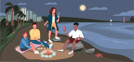 Friends evening picnic at sandy beach flat color vector illustration. Summertime adventure. People sitting near bonfire 2D cartoon character with ocean and tropical palm trees at night on background