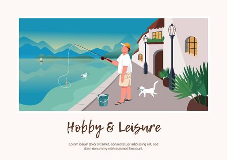 Hobby and leisure banner flat vector template. Brochure, poster concept design with cartoon characters. Man fishing. Holiday at seafront village horizontal flyer, leaflet with place for text Vettoriali