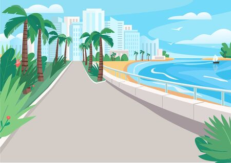 Luxury seaside resort street flat color vector illustration. Waterfront with skyscrapers and tropical palms. Seafront 2D cartoon landscape with sandy beach and city buildings on background Vettoriali