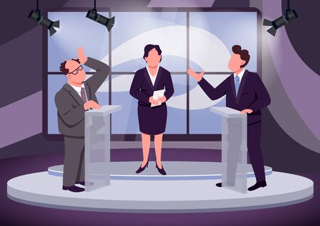 Television debate flat color vector illustration. Political talk show host and speakers 2D cartoon characters with studio on background. Public discussion. Political opponents behind tribunes Vettoriali