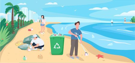 People cleaning sandy beach flat color vector illustration. Polluted seashore clean up. Volunteers collecting garbage 2D cartoon character with ocean and tropical palm trees on background