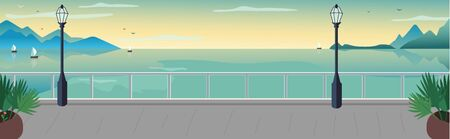Seaside resort street flat color vector illustration. Waterfront terrace. Sea with sailing boat on horizon. Lake and mountains skyline. Seafront 2D cartoon landscape with ocean at sunset on background