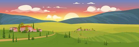 Alba di estate nell'illustrazione di vettore di colore piatto del villaggio. Paesaggio toscano cartone animato 2D paesaggio con montagne sullo sfondo. Tramonto nella piccola cittadina francese. Vigneto all'alba