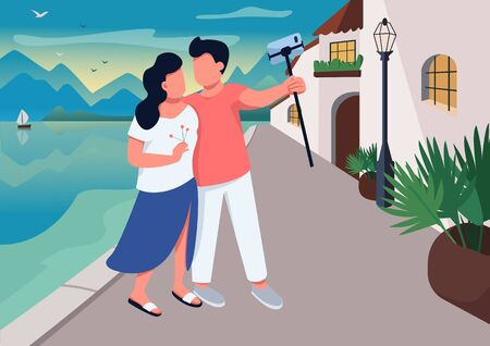 Couple date in resort village flat color vector illustration. Romantic evening promenade. People taking selfie at quay. Boyfriend and girlfriend 2D cartoon characters with waterfront on background