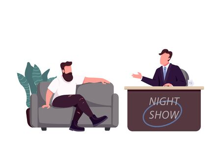Talk show host and guest flat color vector faceless characters. Chat show, live interview isolated cartoon illustration for web graphic design and animation. Interviewer speaking with celebrity