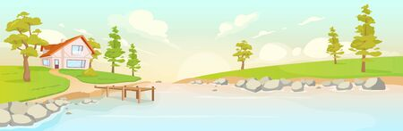 Secluded house on river bank flat color vector illustration. Summer sunrise in village 2D cartoon landscape. Countryside scenery at sunset. Ecotourism. Cabin next to lake in rural area