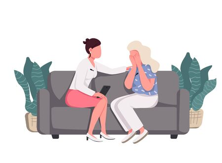 Women sitting on couch flat color vector faceless characters. Talk show, psychologist counseling isolated cartoon illustration for web graphic design and animation. Lady comforting crying friend Ilustracje wektorowe