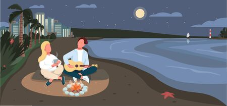 Evening picnic at sandy beach flat color vector illustration. Summertime recreation. Romantic couple 2D cartoon character with ocean and tropical palm trees at midnight on background Vettoriali