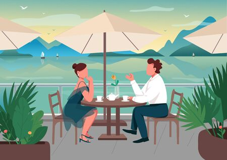 Romantic date at seaside resort flat color vector illustration. Couple dinner in restaurant. Boyfriend and girlfriend in street cafe together 2D cartoon characters with seascape on background Vettoriali