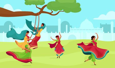 Teej celebration flat color vector illustration. Traditional religious ceremony. Female in sari on swing. Hindu ritual. Indian woman 2D cartoon characters with cityscape on background